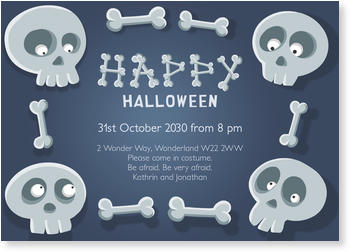>Halloween Party Invitations for a spooky celebration, Skeleton Pals in Gray