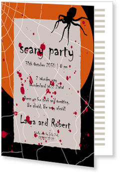 >Halloween Party Invitations for a spooky celebration, Creepy Spider